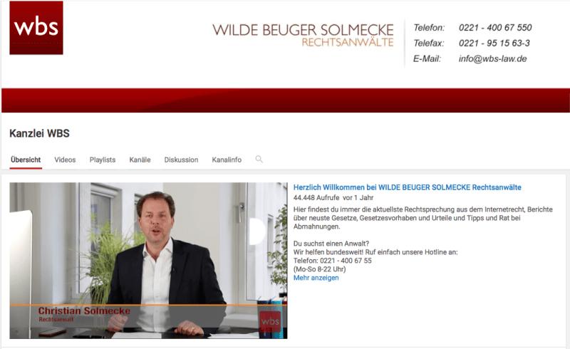 Screenshot von WBS Law bei YouTube