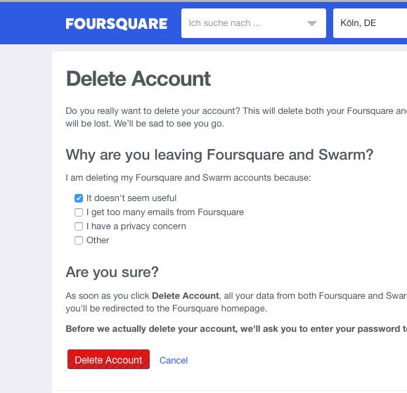 Tschüß, Foursquare und Swarm!