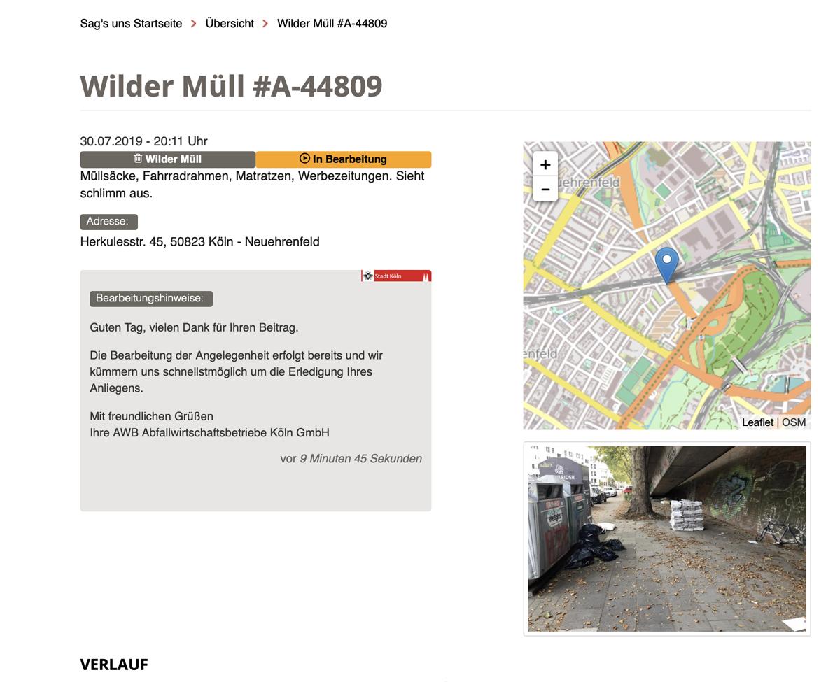 """""""Sag's uns"""" – Weniger Müll in den Straßen mit der App der Stadt Köln"""