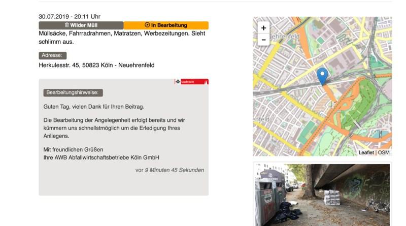 Meldungsverlauf bei der Stadt Köln