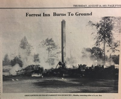 Newspaper article of Forest Inn AKA The Bloody Bucket burned to the ground.