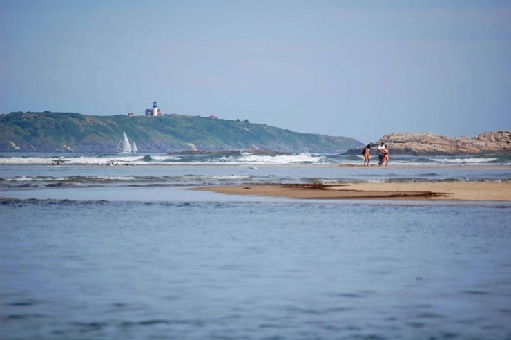 Popham beach state park with a mile long beach and disappearing island.  23 miles from Wiscasset Woods Lodge