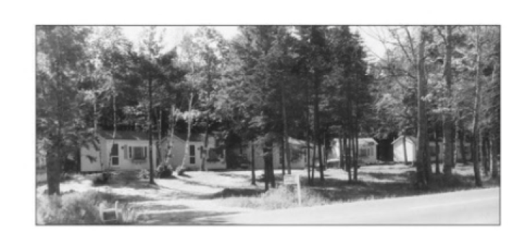 Photo of cabins that in what is now Wiscasset Woods Lodge but then were the Steakhouse Inn and Motor Court. Photo from Around Wiscasset