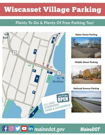 Map of parking in downtown Wiscasset