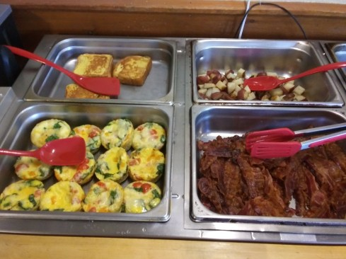 Hot breakfast buffet at Wiscasset Woods Lodge. Bacon, frittata, home fries and French toast.