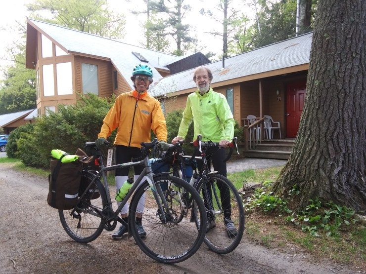 Two of our guests with their bicycles getting ready for a day's ride