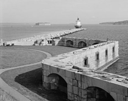Historic photo of Fort Preble with Fort Georges in the background