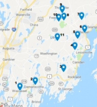 Map of the ceramic studios opening their doors to the public during Maine Pottery Tour 2020