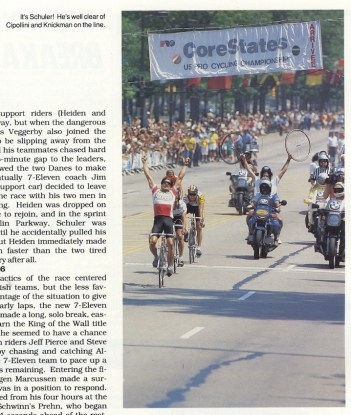 Clipping of bike race finish.