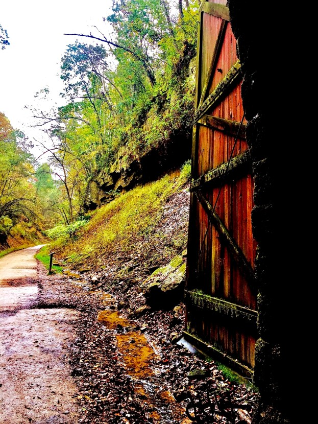 Wooden doors of the Elroy-Sparta Trail tunnel.