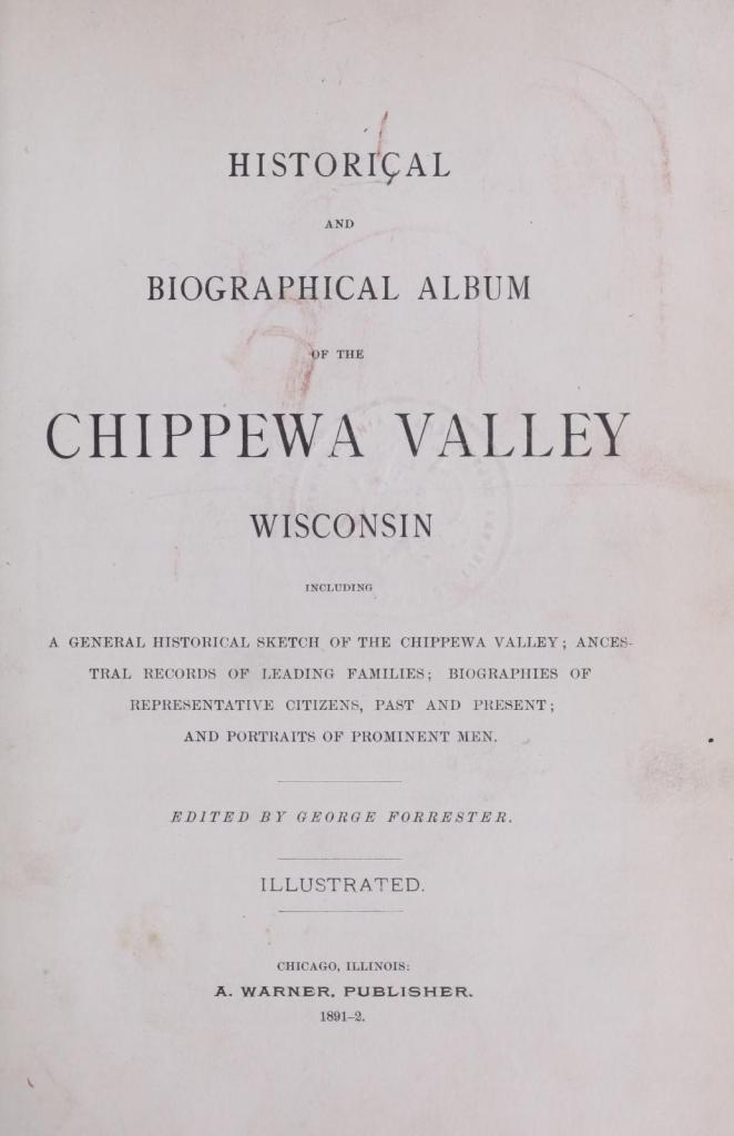 Historical and biographical album of the Chippewa Valley, Wisconsin title page