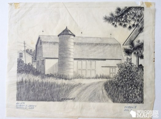 pencil sketch of barn