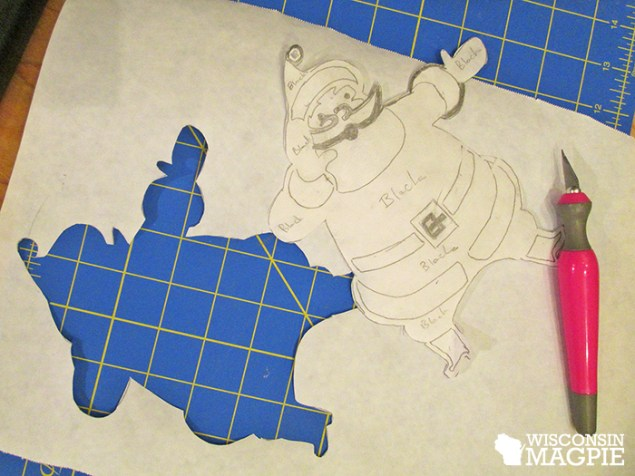 cut out parchment paper stencil
