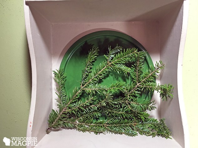 green tray and evergreen branch
