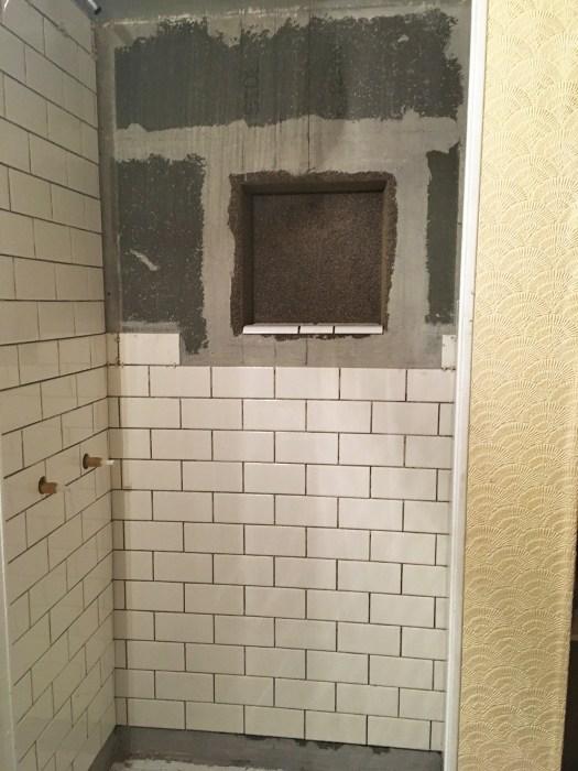 shower stall before tiling inset shelf