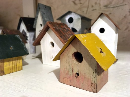 mini birdhouses before being transformed into mini Christmas village