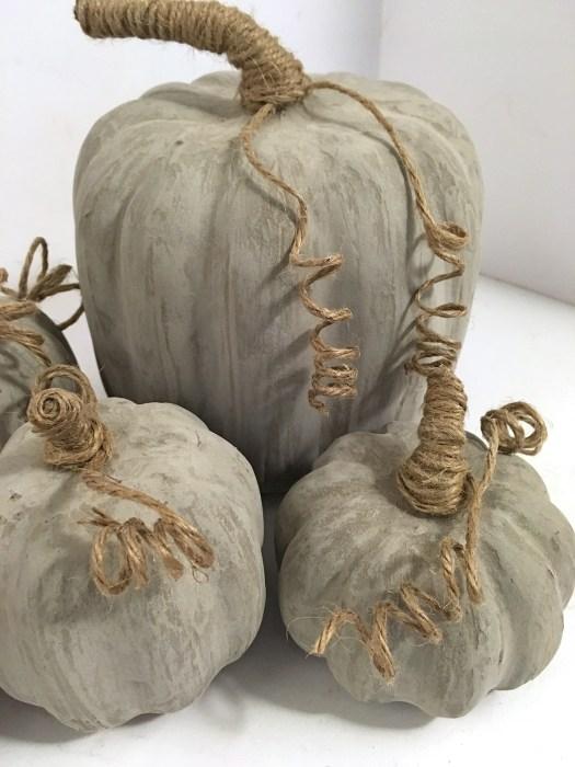 DIY concrete pumpkins made with skimcoat
