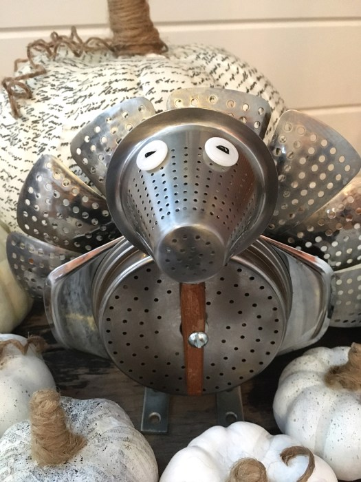 turkey assembled from vegetable strainer, tea strainer, coffee basket and apple corer