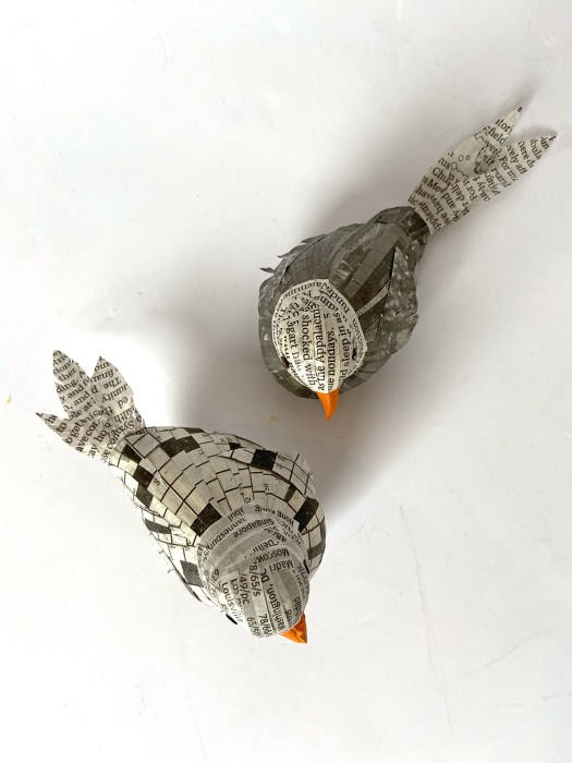 Mod Podged newspaper birds