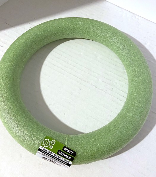 green styrofoam wreath base