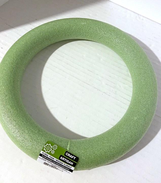 green styrofoam wreath base