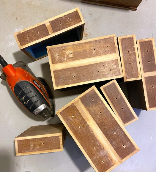 Sanded jewelry box drawers