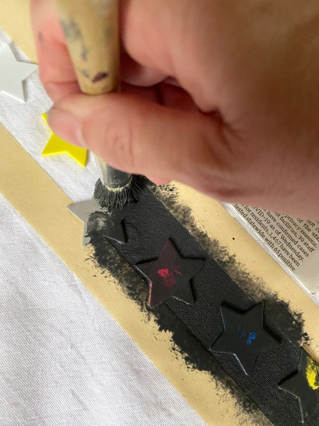 painting over line of adhesive stars