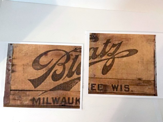 Printout of Blatz beer logo on two sheets of paper