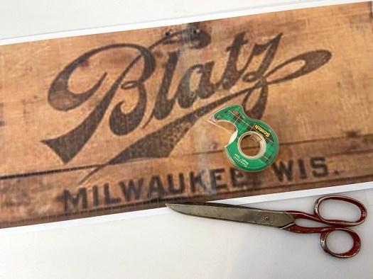 Printout of Blatz beer logo taped together