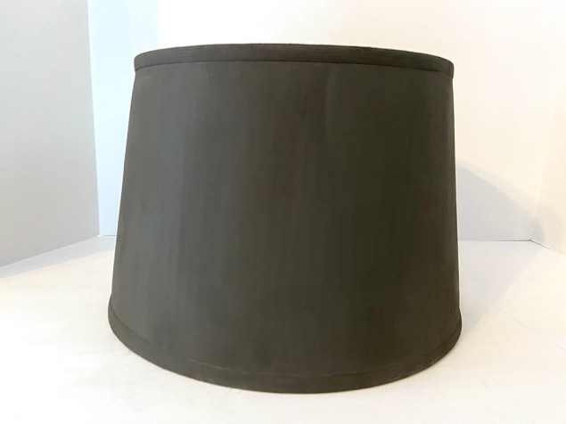 drum-style lampshade painted black