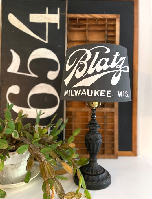 vintage inspired painted lampshade with Blatz beer logo on it