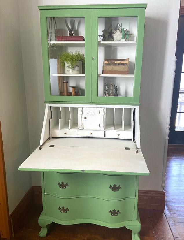 Green and white secretary desk