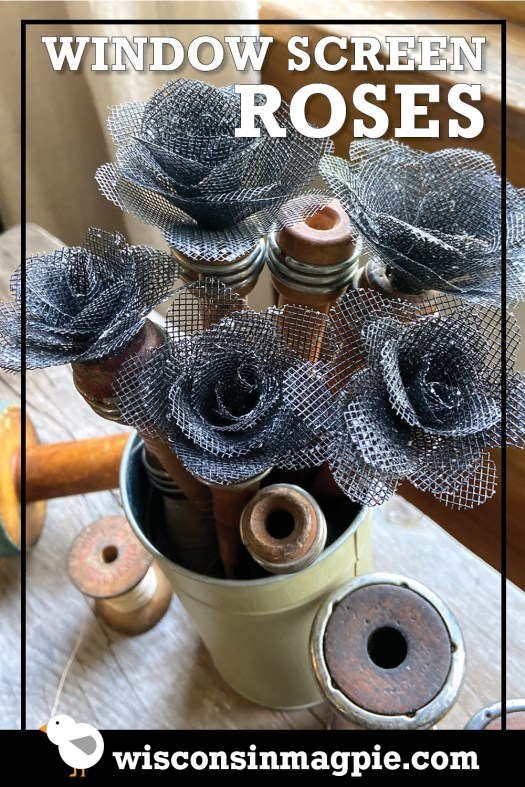 Window Screen Roses pin for Pinterest