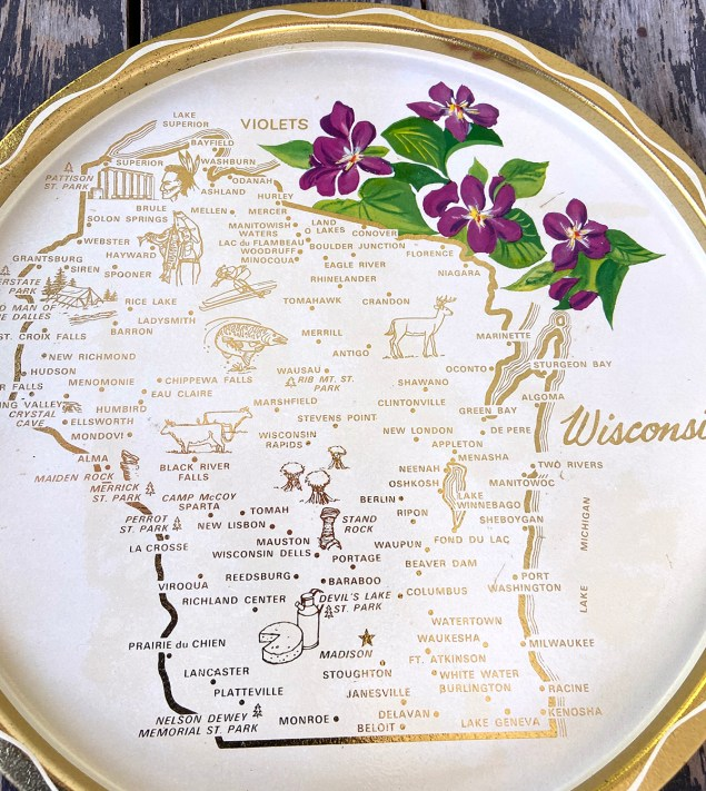Collected castoffs: vintage Wisconsin tray