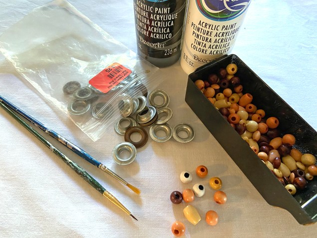beads and grommets that will be used for the turkey's eyes