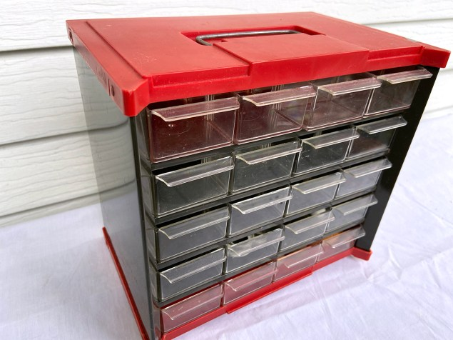 Vintage red and black small parts organizer