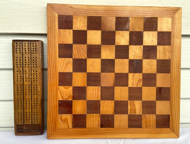 Handmade checkers board and cribbage board