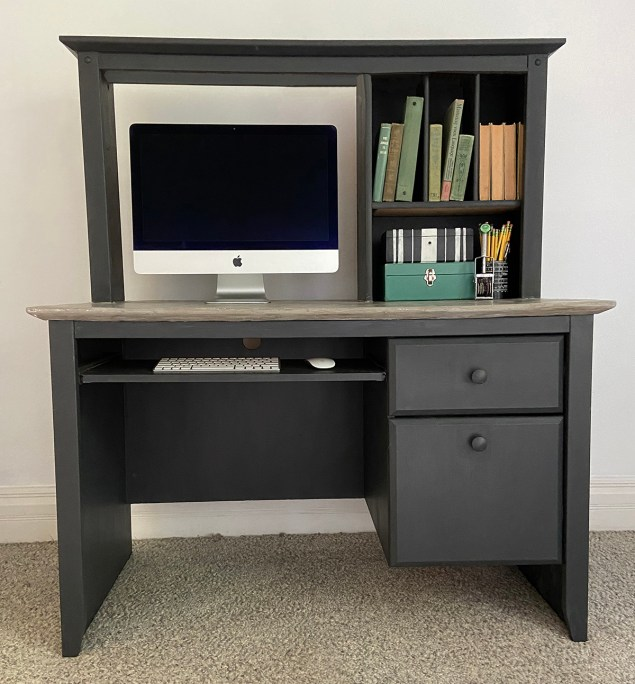 black industrial farmhouse style desk with concrete desktop