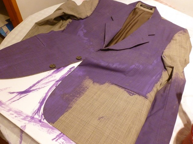 painting a suit jacket purple for a Joker costume