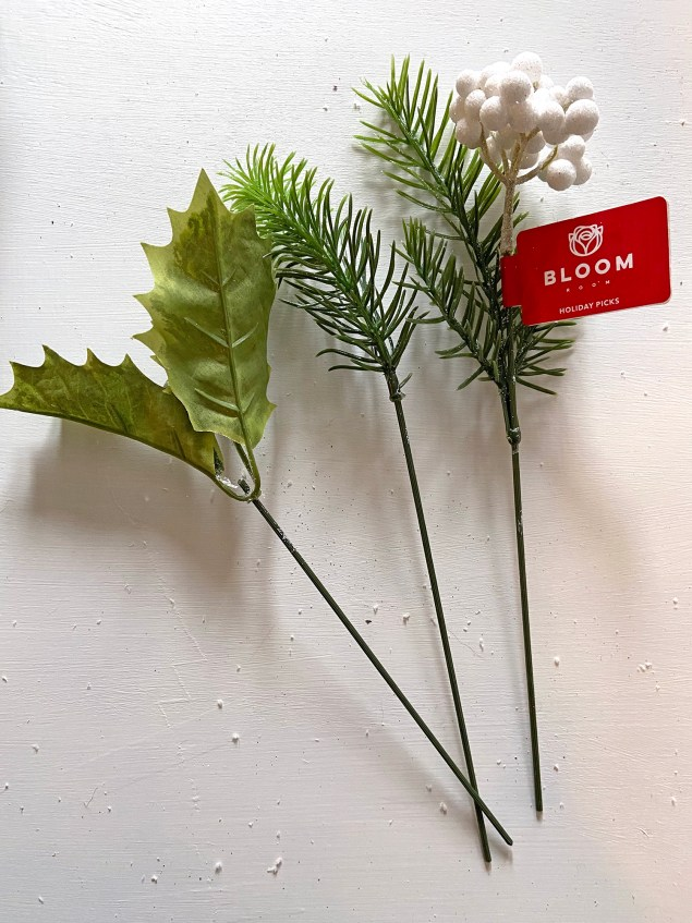 faux holly and berry stems