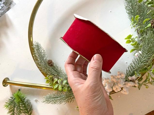 roll of 2-inch-wide velvet ribbon