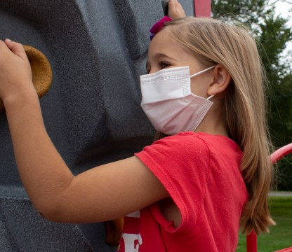 Wisconsin Medical Supplies Youth Face Mask on Little girl