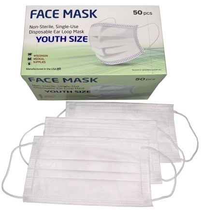Wisconsin Medical Supplies Youth Face Mask Box and Masks