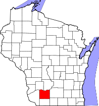 Map of WI showing Iowa County