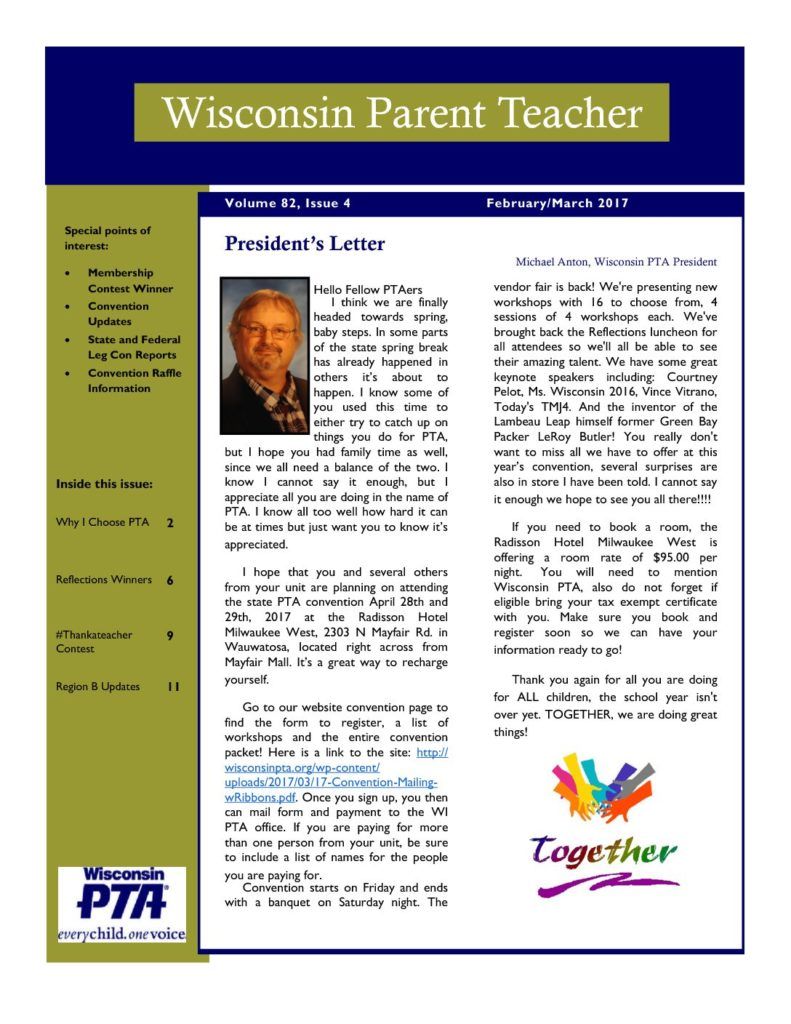 Archived Newsletters Wisconsin Pta