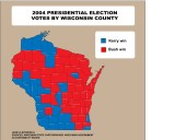 Click for full-size map of Wisconsin statewide vote for election 2004