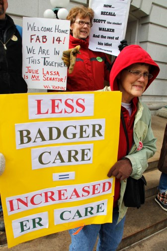 Jane Pedersen of Menomonie in northwest Wisconsin joined March protests at the Capitol to express her concern that Medicaid cuts would hurt those who most need care.