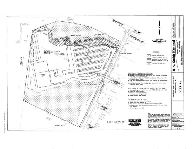"""This site plan, approved by DNR in 2010, would fill 1.65 of 11 acres of wetland on the north side of the structure. Legislators exempted """"less than three acres"""" of the site from wetlands laws, allowing the developer to escape a contested case hearing."""