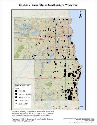 Clean Wisconsin Map of Coal Ash Reuse