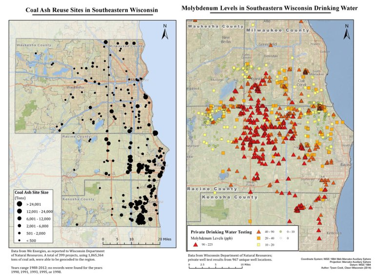 In 2014, Clean Wisconsin, an environmental advocacy group, studied nearly 1,000 private wells in southeastern Wisconsin and mapped 399 coal ash disposal sites. Based on the study, the group said wells closer to disposal sites showed higher levels of molybdenum, a toxic metal found in coal ash.